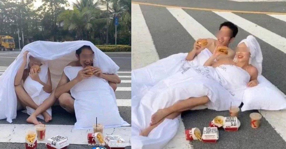 中国新人为了拍摄婚纱照拼了命!无视繁忙车辆,半裸裹床单横躺斑马线!