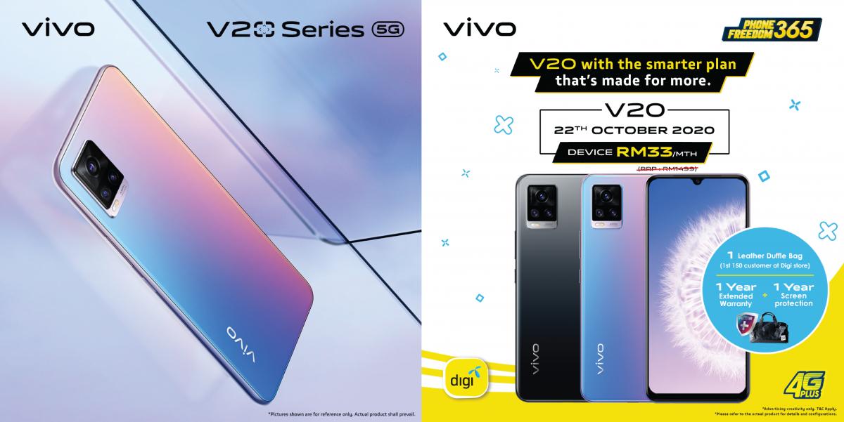 vivo最佳自拍录像手机V20系列登场!Digi配套每月只需RM18就能入手?!