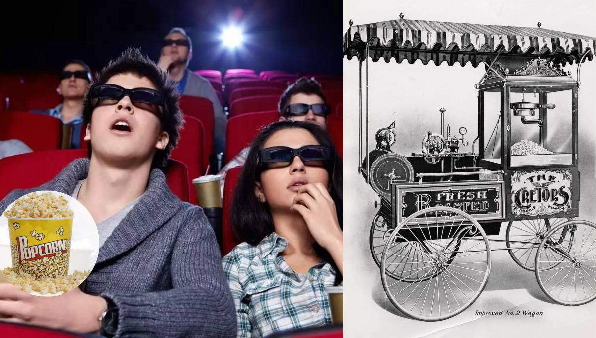 原来看电影搭配爆米花是有原因的!全世界第一台爆米花机在美国!