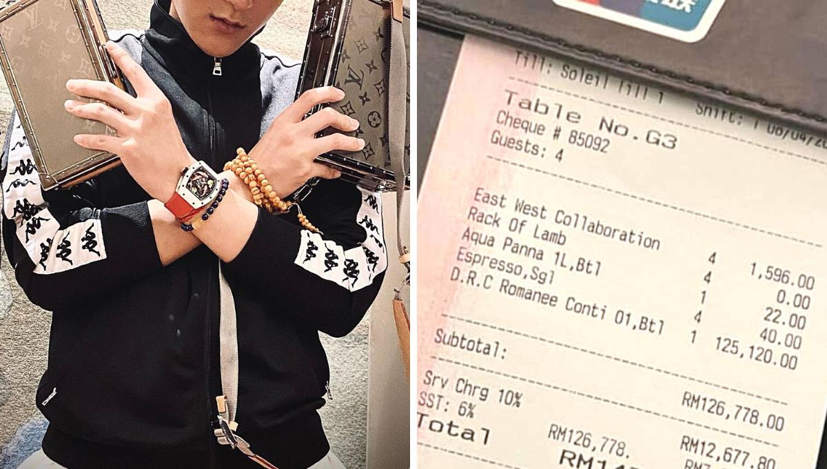 富豪一餐要价RM15万!服务费+SST是很多人一年的薪水!