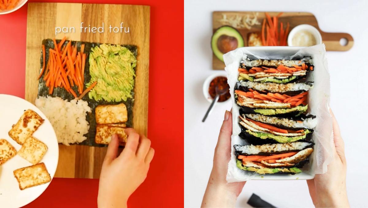 教你做快手早餐折叠饭团!叠三叠不用卷,食材随心配做法超省心!