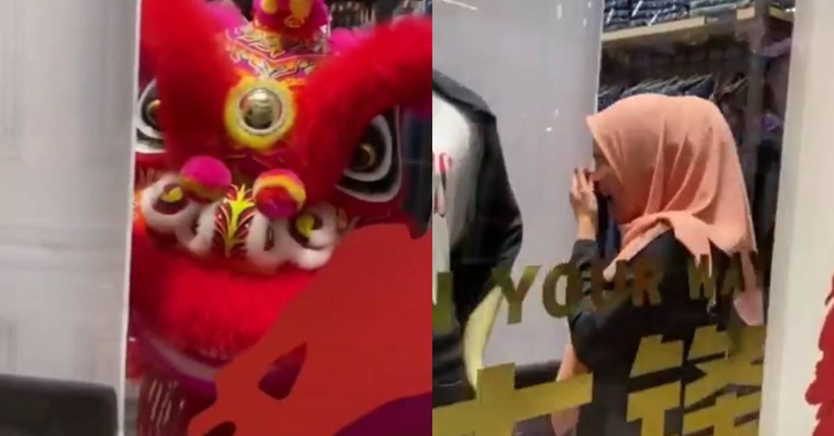 马来女子被舞狮吓得边喊边躲!网民:吓坏人的还有McD小丑和大头娃娃!