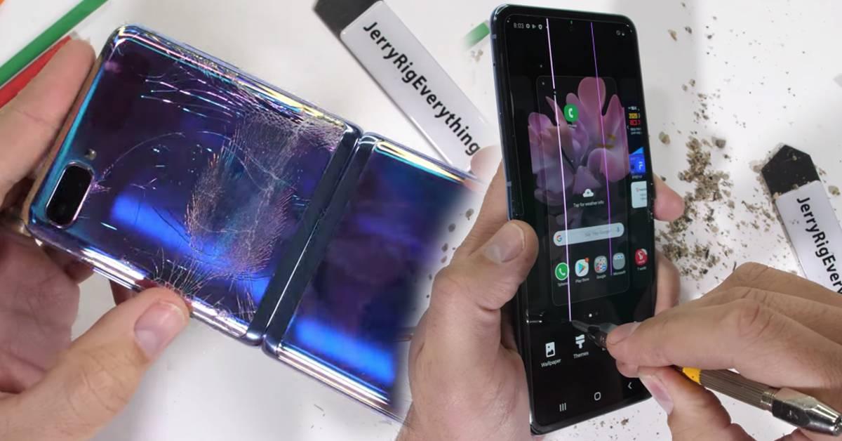 YouTuber对Samsung第二代折叠手机动刀还放火!Galaxy Z Flip被掰到粉碎,惨不忍睹!