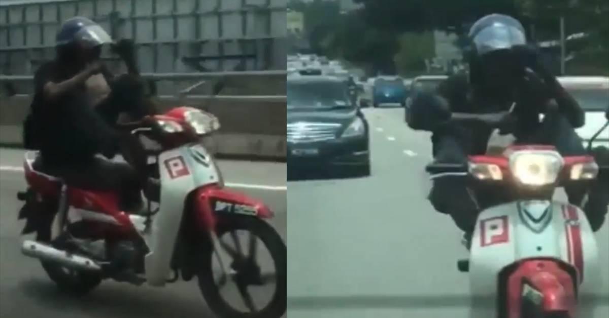 男子用脚驾摩托车,双手还拿着Teh Ais喝!视频引起警方关注上门找人!