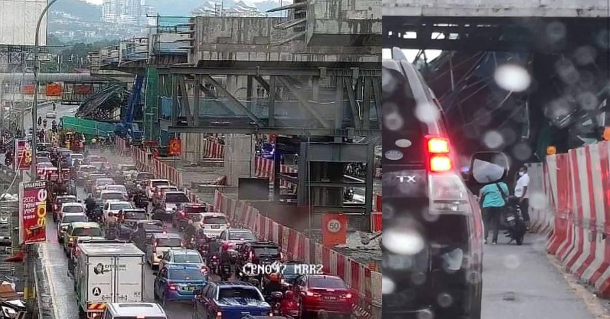 MRR2兴建中的天桥发生意外!货车途径遭击中,5人生死未卜!
