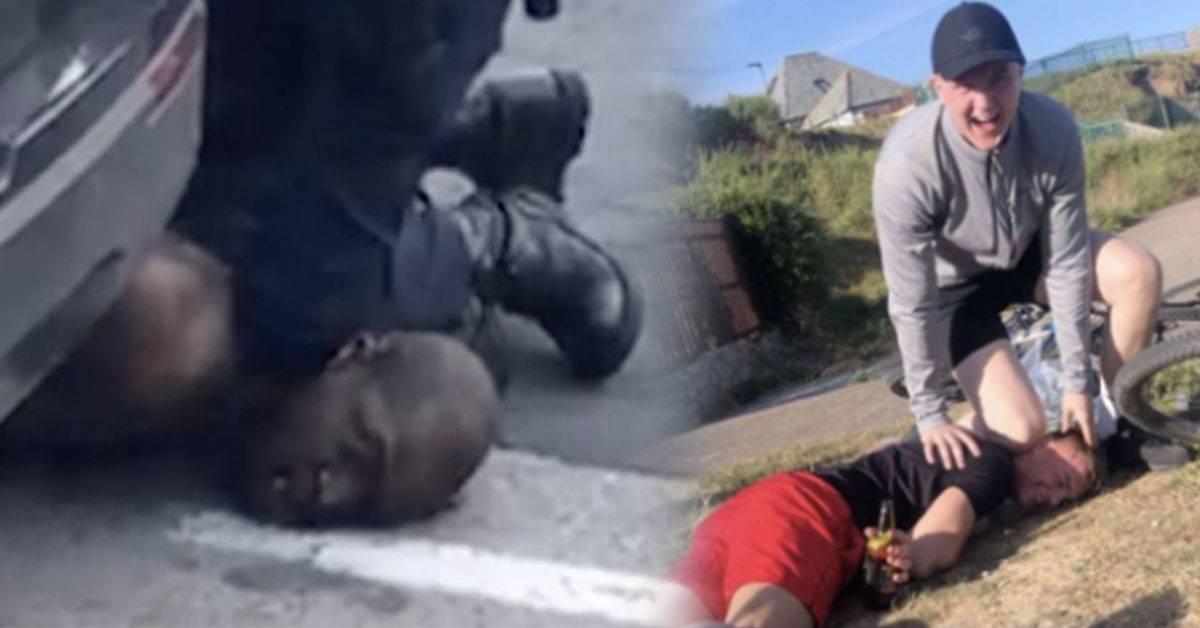 """年轻人模仿警察暴力跪压颈项姿势!大笑着拍照遭网友谴责""""应该给他们一点教训""""!"""