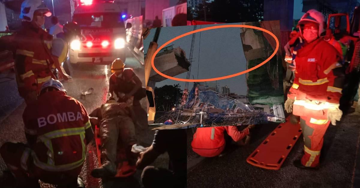 DASH施工中的高架天桥坍塌酿1死!其中一名外籍工友伤势恶化不治!