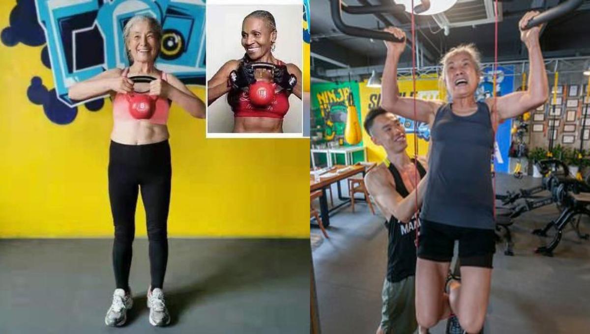 68岁奶奶撸铁健身瞬间爆红!只要还活着,就会继续锻炼身体!