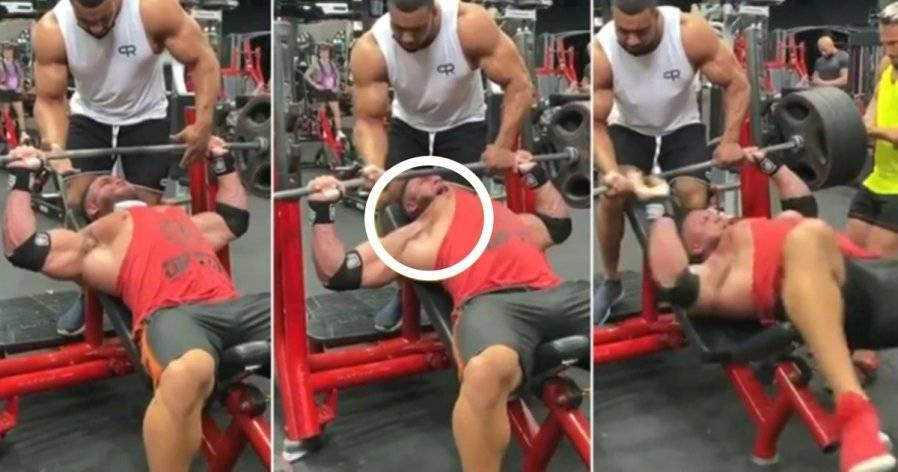 太恐怖了!男子卧推220kg,胸肌隆起当场撕裂!【内附视频】