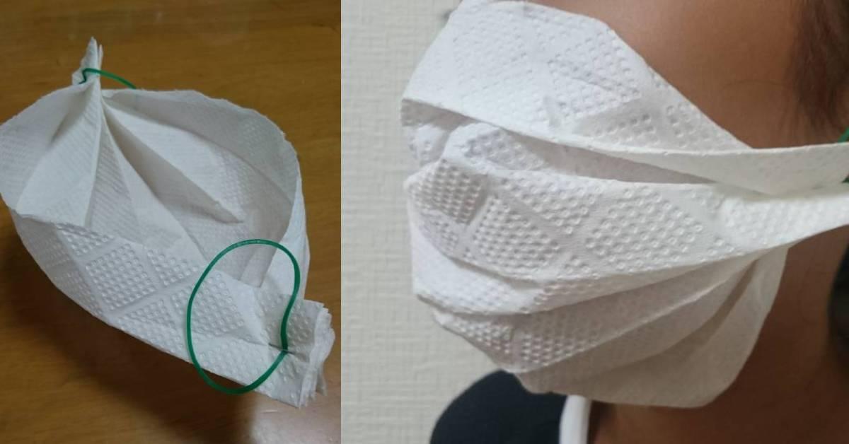 简单3步骤教你用橡皮筋+纸巾DIY口罩?!买不到没有关系!