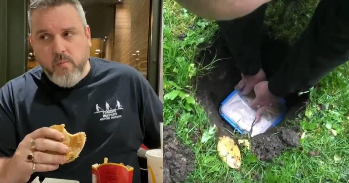 """英国男子挑战""""麦当劳的365挑战"""" !吃下埋了14个月汉堡居然说味道还不错?"""