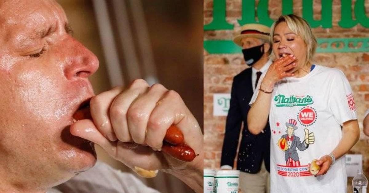 热狗大胃王比赛成绩出炉!10分钟内吞75套热狗堡,刷新了世界纪录?