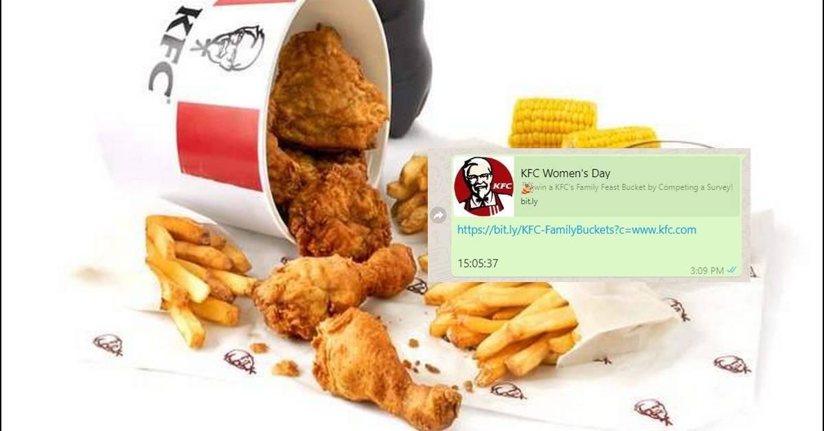 填问卷获KFC家庭盛宴桶!大马KFC官方澄清是「假的」?