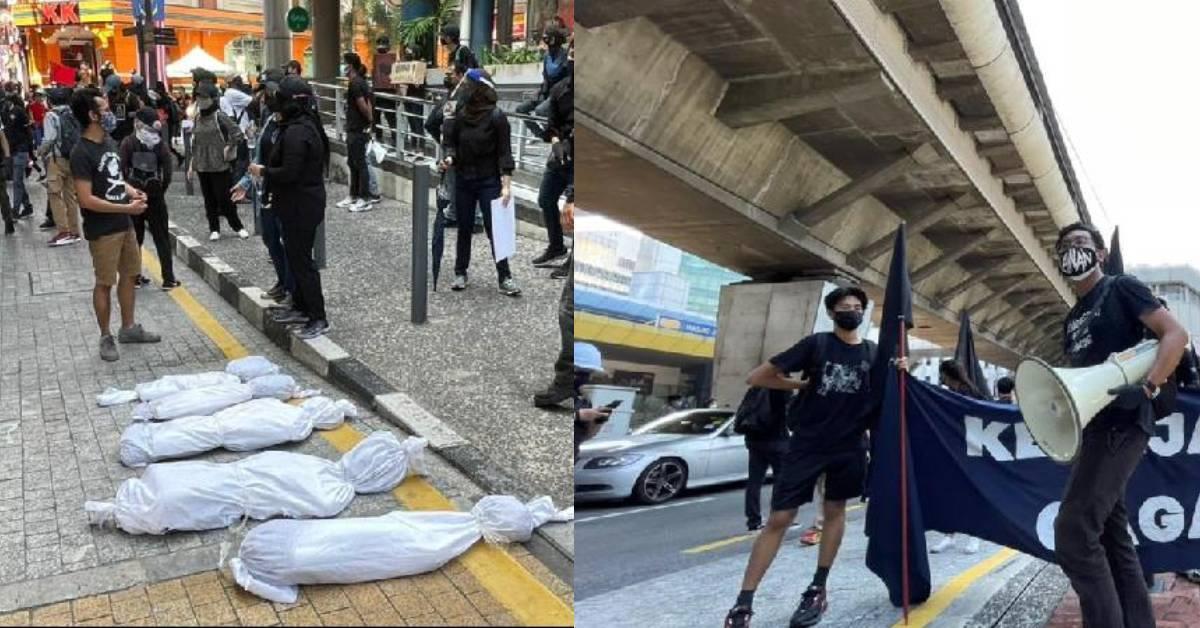 百人聚集举黑旗争取3大诉求! 警方紧急封锁独立广场入口!
