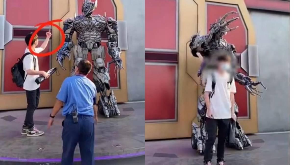 """遭白目游客比中指!北京环球影城""""Megatron""""拒合照,发怒爆骂:""""XX的人类!""""【内有影片】"""